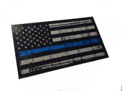 Tattered 3M reflective Thin Blue Line 3.75 X 2.25 Decal Sticker United States Us Flag Tactical Police Law Enforcement