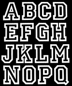 5.1cm Iron-On Jersey Letters in White Open Style