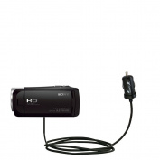 Gomadic Intelligent Compact Car / Auto DC Charger suitable for the Sony HDR-CX405 / HDR-CX440 - 2A / 10W power at half the size. Uses Gomadic TipExchange Technology