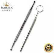Majestic Bombay Double End Dog Dental Tooth Scaler Tartar Remover + Stainless Steel Dental Inspection Mirror