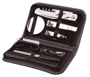 9 Piece Mens Travel Set Complete Grooming Set Nail Clippers Brush Comb Nail File Stainless Steel Kit - Includes Travel Case - Ideas In Life TM
