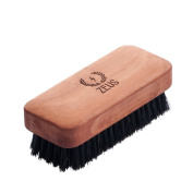 Zeus 100% Boar Bristle Beard Brush for Men - Firm, Military-Style Palm Brush for Softer, Healthier and More Lustrous Beards - Made in Germany