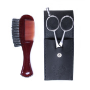 Zeus Moustache and Beard Grooming Kit for Men - Made in Germany - Beard Scissors and Comb Trimming Kit with Leather Pouch