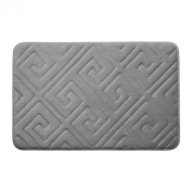 Bounce Comfort Caicos Extra Thick Premium Memory Foam Bath Mat with BounceComfort Technology, 43cm x 60cm Light Grey