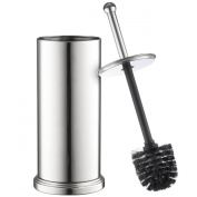 Home-it toilet brush set Chrome toilet brush for tall toilet bowl and toilet brush holder with Lid great toilet bowl cleaner