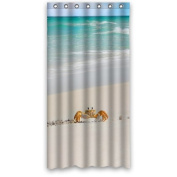 36(W)x72(H) Inches - Cute Crab Walking In Beautiful Beach Shower Curtain / 100% Polyester Waterproof Fabric Curtain / Shower Rings Included