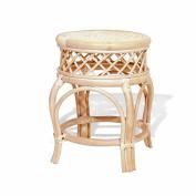 Ginger Handmade Rattan Wicker Stool Fully Assembled White Wash