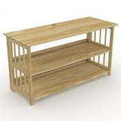 Stony-Edge FTVS-42-NA 110cm TV Stand, Bookshelf, Media Storage Cabinet with USB Port, Natural Wood