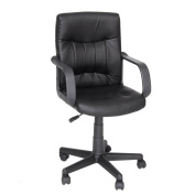 Green Forest Agenor Leather Executive Office Chair with Nylon Arms,Black