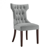 Dorel Living Clairborne Tufted Upholestered Dining Chair, Taupe, Set of 2