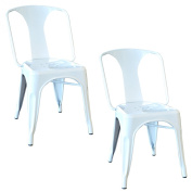 AmeriHome Metal Dining Chair, White, Set of 2