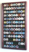 L Casino Chips / Coins Display Case Cabinet Holders Rack w/ UV Protection -Cherry Finish
