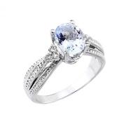 Women's 14k White Gold Diamond Band Oval Aquamarine Engagement Ring
