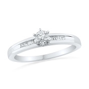 10KT White Gold Baguette And Round Diamond Promise Ring