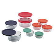 Pyrex 1110141 18pc Glass Food Storage with Multi-coloured Lids