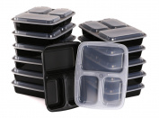 Estilo 3-Compartment Microwave Safe Food Container with Lid/Divided Plate/Bento Box/Lunch Tray with Cover, Black, 12-Pack