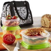 Fit & Fresh Ashland Lunch Bag Kit with Reusable Container Set and Ice Pack, Lacey Floral