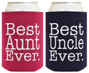 Best Aunt and Uncle Ever Gift Set 2 Pack Can Coolies Drink Coolers Magenta and Navy