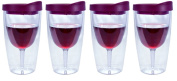 Southern Homewares Wine 2Go! Insulated Vino Double Wall Acrylic Wine Tumbler with Merlot Drink Through Lid, 470ml, Pack of 4