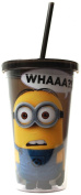 Silver Buffalo Despicable Me DM05087 What Cold Cup with Lid and Straw, 470ml, Black