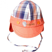 New Born Baby Boy's Chequered Summer Sun Hat Cap with Ear Flaps