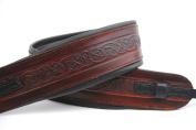 Uk Made Celtic Brown Leather Padded Banjo Strap