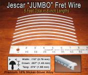 Guitar/Bass Fret Wire - Jescar JUMBO Size Nickel-Silver - Six Feet