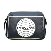 PAN AM Shoulder Bag Retro Look with Logo Licenced with Metal Studs, High Quality Navy