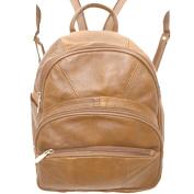 Genuine Leather Round Top Black Backpack Organiser Bag