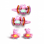 Peppa Pig Bright Carnival Colours Bow Snap Hair Clips Sleepies & Poinios