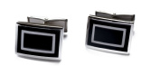 Silver on Black . High Fashion Cufflinks with Faux Crocodile Skin Box