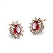 La Vivacita Princess stud earrings with Ruby. crystal 18ct rose gold plated gift for women and girls