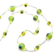 Necklace Long Pearl Bead Chain Green Yellow Neon Beautiful Colours Peacock Eye Jewellery Woman