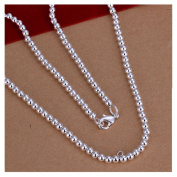 NYKKOLA Jewellery New Fashion 925 Sterling Silver Ball Polished Beads Chain Necklace