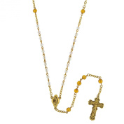 Vatican Library Collection Gold-Tone Crystal AB Topaz Rosary Necklace of 60.96cm P6068