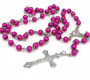 Pink Long Rosary Glass Beads Cross In Silver Cross Necklace For Women Men Girl