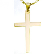 Large 9ct Gold Cross Pendant Necklace With 46cm Gold Chain