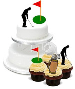 NOVELTY GOLF GOLFER MIXED BIRTHDAY PARTY PACK - Standups 2 Large and 12 Cupcake Edible Standup Premium Wafer Cake Toppers