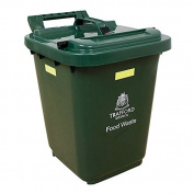 Kerbside Compost Caddy with Locking Lid - Green - for Food Waste Recycling (23 Litre) - 23L Plastic Composting Kerbside Bin with Composting Guide & Biobag
