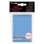 Trading Card Sleeves - 50 Ultra Pro Standard Size Light Blue Deck Protectors Pokemon/MTG Sized. 66mm x 91mm.