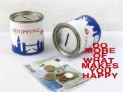 "Blue piggy bank LONDON ""SHOPPING"" - CITY CASH BOX by 44spaces®"