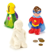 Star Hero Ceramic Coin Banks with Removable Stopper for Children to Paint and Decorate