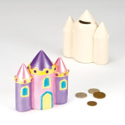 Ceramic Castle Coin Banks with Removable Stopper for Children to Paint and Decorate