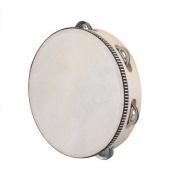 TOOGOO(R) 20cm Musical Tambourine Tamborine Drum Round Percussion Gift for KTV Party