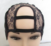 XL Combs attached Wide Gap Middle U Part Wig Making Cap. 8.9cm X 8.9cm . Ideal for adding closure. With Adjustable Sturdy Straps and combs