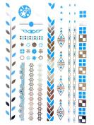 METALLIC TEMPORARY FLASH TATTOOS SILVER TURQUOISE BODY ART 6 DESIGNS [24]
