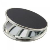 FMG Round Folding Travel Mirror 5X Magnifying 13cm Diameter Black