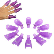 Malloom®10PC Plastic Nail Art Soak Off Cap Clip UV Gel Polish Remover Wrap