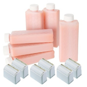 Hive 6pcs Refill Roller Depilatory Roll on Roller Cartridges Sensitive Creme Wax 80g with 6pcs Large Roller Heads CODE