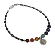 ShoreThing UK Chakra Anklet with Hematite Hill Tribe Silver Yin Yang Sterling : 25cm - 27cm. Black,Red,Orange.Yellow,Green,Blue,Purple,Silver